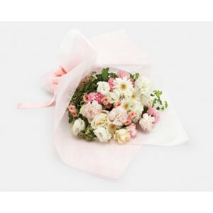 Mother's Day white & pink hand-tied bouquet