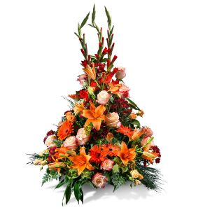 Vertical centrepiece in orange shades